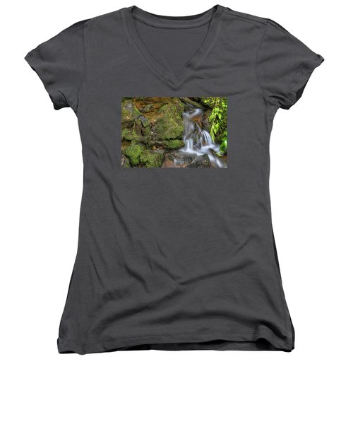 Women's V-Neck T-Shirt featuring the photograph Green And Mossy Water Flow by James BO Insogna