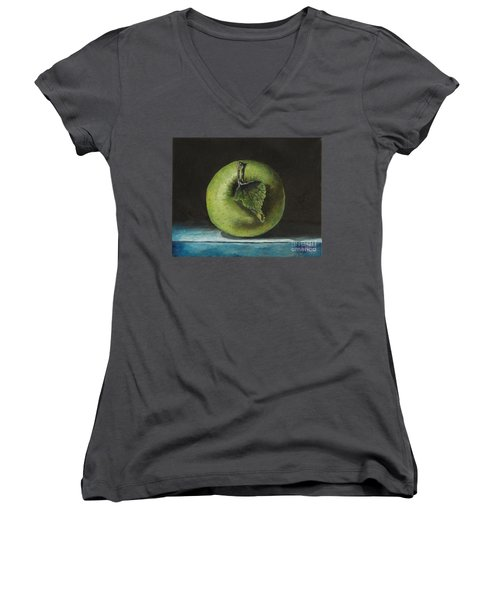 Green And Yellow Apple Women's V-Neck (Athletic Fit)
