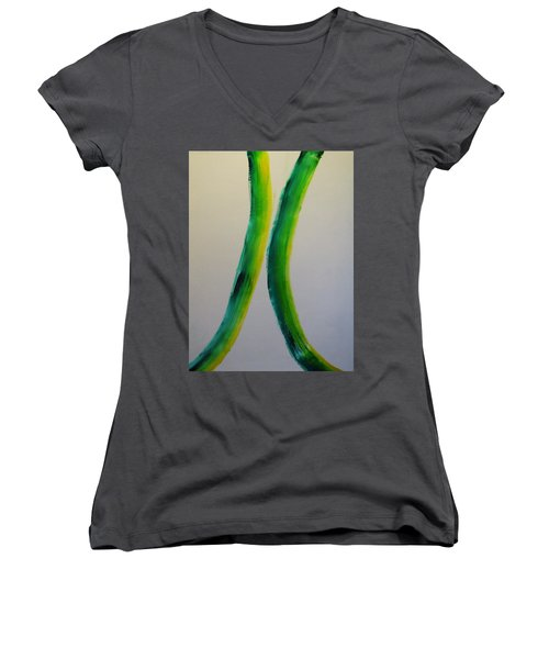 Green And Yellow Women's V-Neck T-Shirt (Junior Cut) by Barbara Yearty