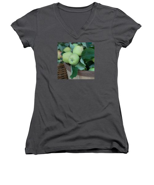 Green Apples In A Basket  Women's V-Neck T-Shirt (Junior Cut) by Michael Moriarty