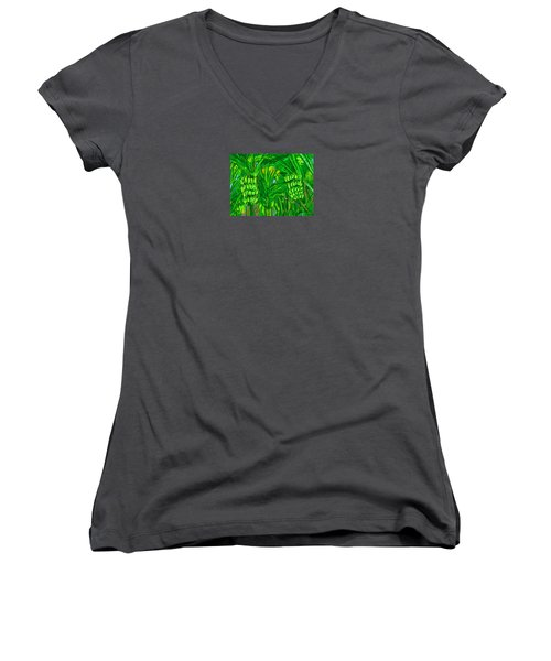 Women's V-Neck T-Shirt (Junior Cut) featuring the digital art Green Bananas by Jean Pacheco Ravinski