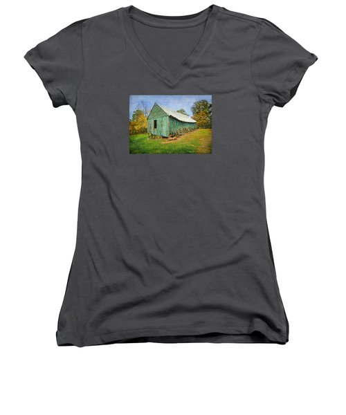 Women's V-Neck T-Shirt (Junior Cut) featuring the photograph Green Barn by Marion Johnson