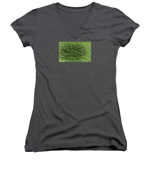 Women's V-Neck T-Shirt featuring the photograph Green Bird Of Paradise by Nareeta Martin