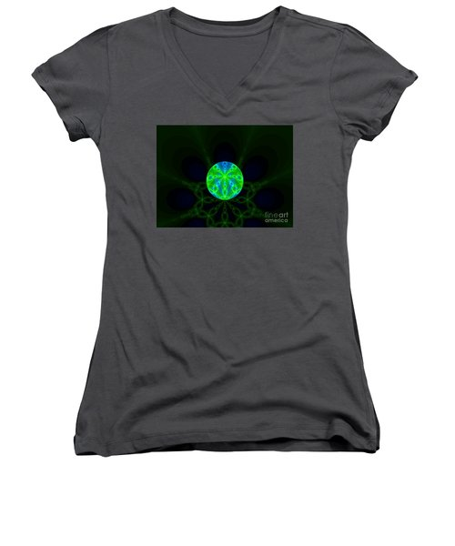 Green Blue World Fractal  Women's V-Neck