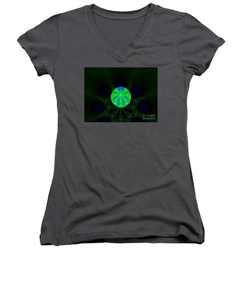 Green Blue World Fractal  Women's V-Neck