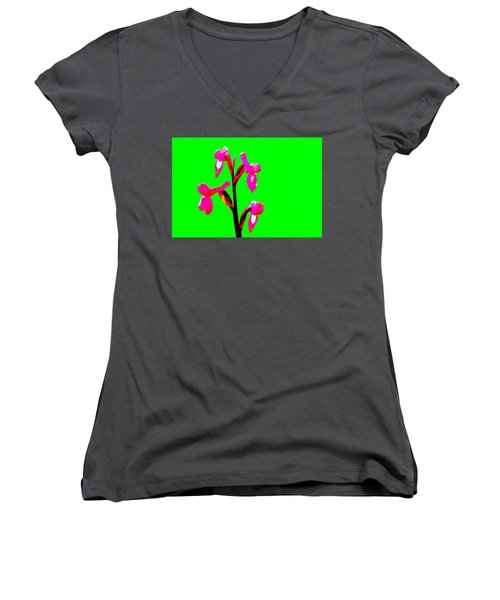 Green Champagne Orchid Women's V-Neck T-Shirt