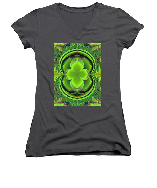 Women's V-Neck T-Shirt (Junior Cut) featuring the digital art Green Clover by Svetlana Nikolova