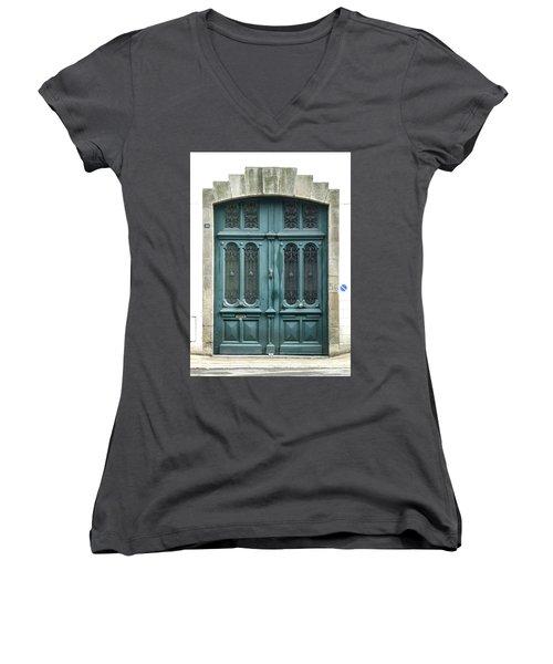 Green Door Women's V-Neck T-Shirt (Junior Cut) by Helen Northcott
