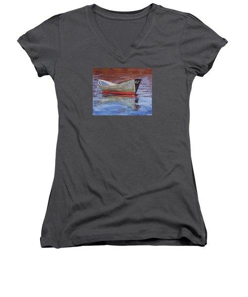 Green Dory Women's V-Neck T-Shirt (Junior Cut) by Trina Teele