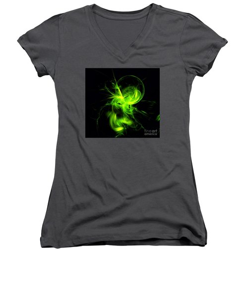 Green Flame Fractal Women's V-Neck