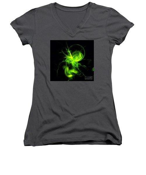 Green Flame Fractal Women's V-Neck