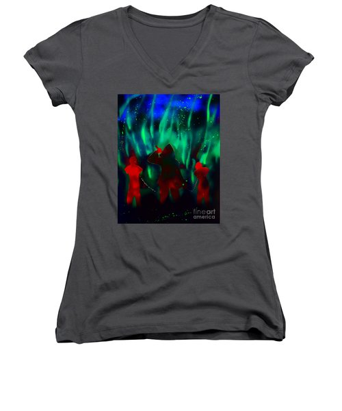 Green Flames In The Night Women's V-Neck T-Shirt (Junior Cut) by Justin Moore