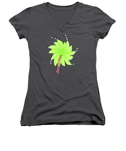 Green Flowers In The Wind Women's V-Neck T-Shirt (Junior Cut)