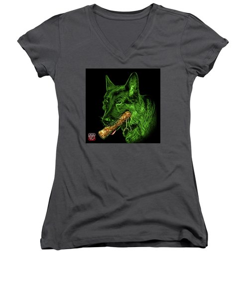 Green German Shepherd And Toy - 0745 F Women's V-Neck