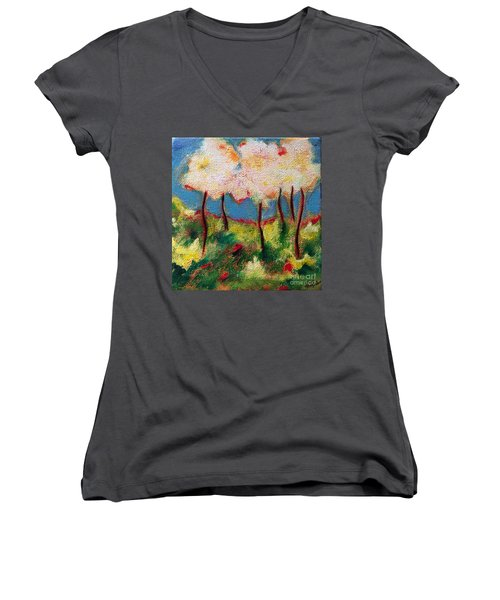Green Glade Women's V-Neck T-Shirt (Junior Cut) by Elizabeth Fontaine-Barr