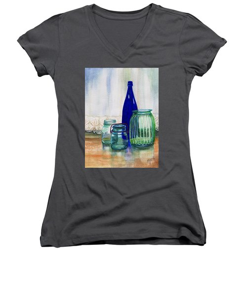 Women's V-Neck T-Shirt (Junior Cut) featuring the painting Green Jars Still Life by Marilyn Smith