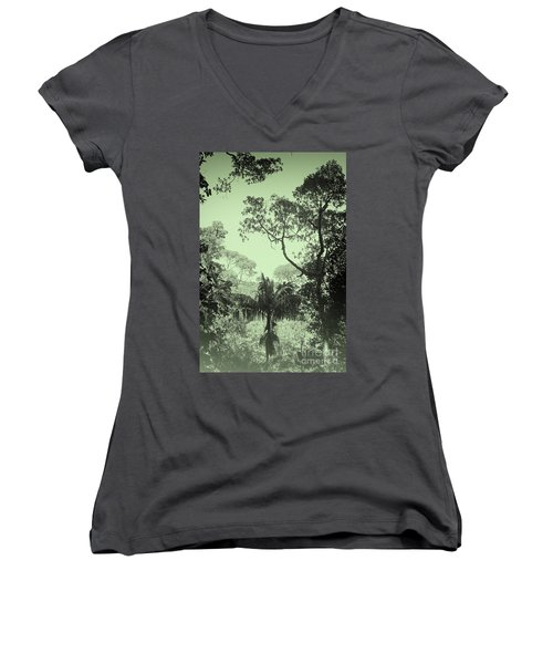Green Jungle Women's V-Neck (Athletic Fit)