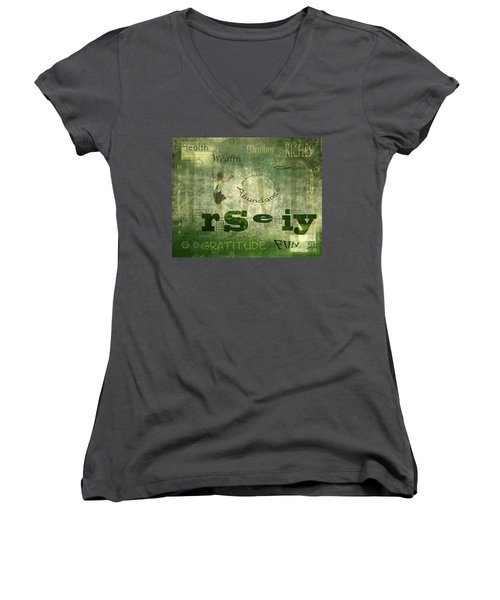 Green Knowings Women's V-Neck T-Shirt
