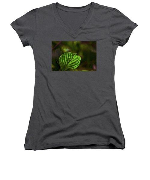 Green Leaf Women's V-Neck (Athletic Fit)