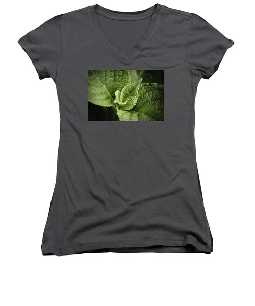 Women's V-Neck T-Shirt (Junior Cut) featuring the photograph Green Leaves Abstract II by Marco Oliveira