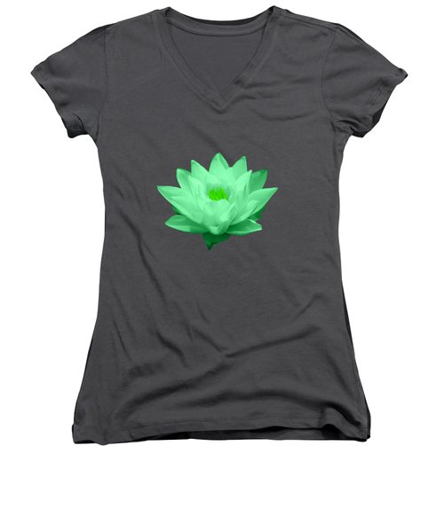 Green Lily Blossom Women's V-Neck T-Shirt (Junior Cut) by Shane Bechler