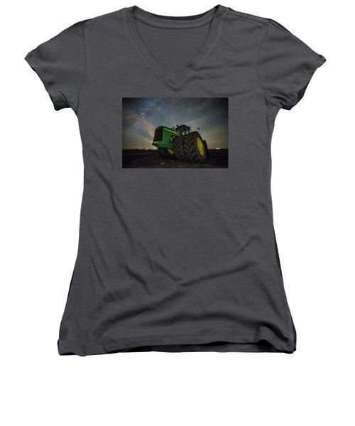 Women's V-Neck T-Shirt (Junior Cut) featuring the photograph Green Machine  by Aaron J Groen