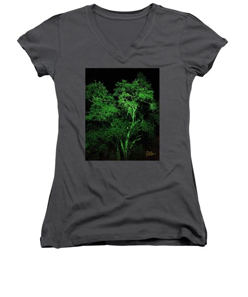 Women's V-Neck T-Shirt (Junior Cut) featuring the digital art Green Magic by Doug Kreuger