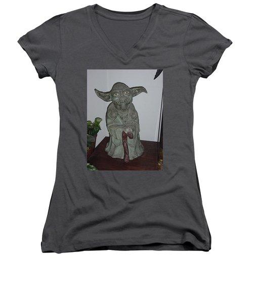 Green Man Women's V-Neck T-Shirt (Junior Cut) by Val Oconnor