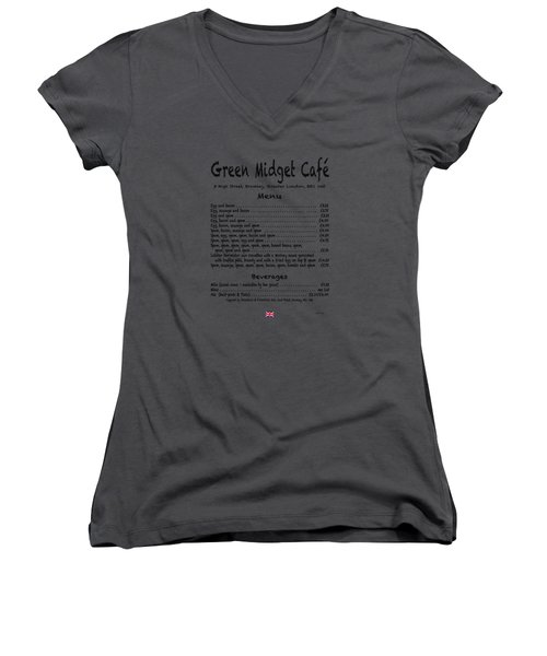 Green Midget Cafe Menu T-shirt Black Letters Women's V-Neck T-Shirt (Junior Cut) by Robert J Sadler