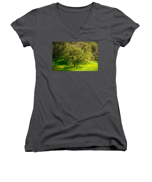 Green Oak Tree And Grasses Women's V-Neck (Athletic Fit)