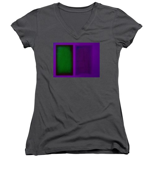 Green On Magenta Women's V-Neck T-Shirt (Junior Cut) by Charles Stuart
