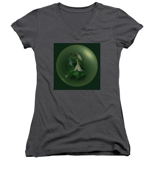 Green Orb Flower Women's V-Neck