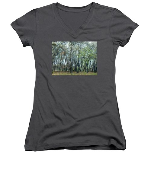 Green Pushing Out Women's V-Neck