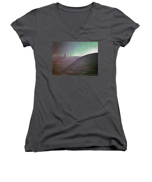 Women's V-Neck T-Shirt (Junior Cut) featuring the drawing Green Pyramid B by Mayhem Mediums