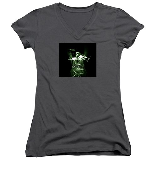Green Women's V-Neck T-Shirt (Junior Cut) by Rajiv Chopra