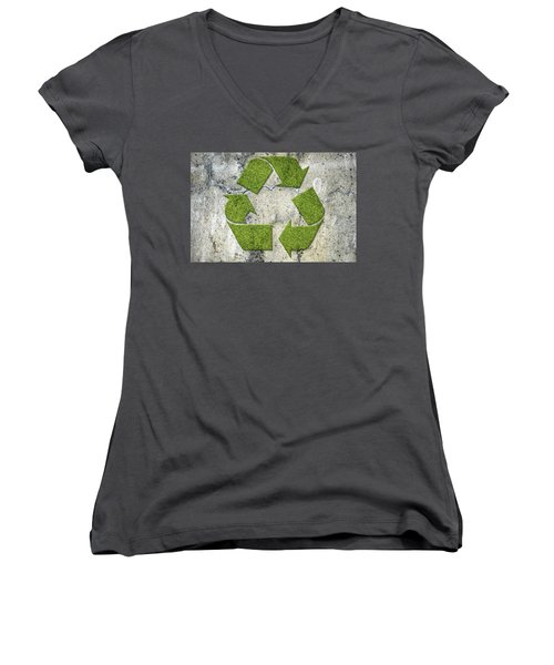 Green Recycling Sign On A Concrete Wall Women's V-Neck T-Shirt (Junior Cut) by GoodMood Art