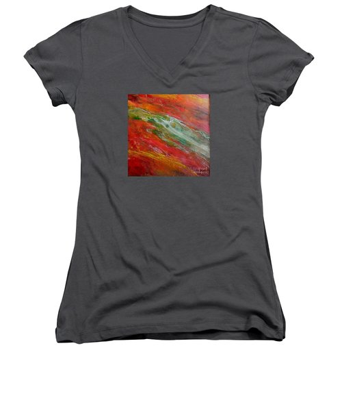 Women's V-Neck T-Shirt (Junior Cut) featuring the painting Green River by Dragica  Micki Fortuna