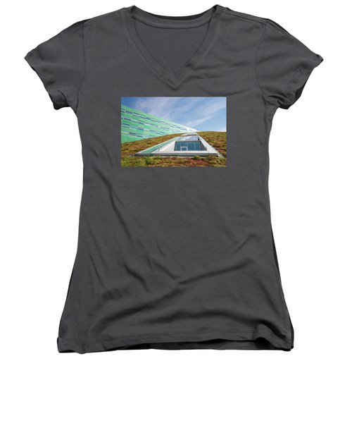 Women's V-Neck T-Shirt (Junior Cut) featuring the photograph Green Roof by Hans Engbers
