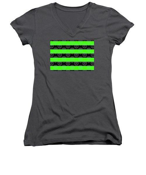 Green Skull Stripes Women's V-Neck T-Shirt