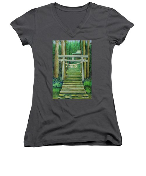 Women's V-Neck T-Shirt (Junior Cut) featuring the drawing Green Stairway by Tim Ernst