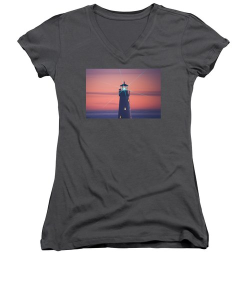 Women's V-Neck T-Shirt featuring the photograph Green Star by Lora Lee Chapman
