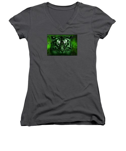 Green Tiger Women's V-Neck T-Shirt (Junior Cut) by Michael Cleere