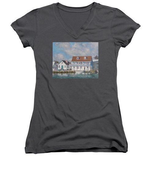 Green Turtle Cay Past And Present Women's V-Neck (Athletic Fit)