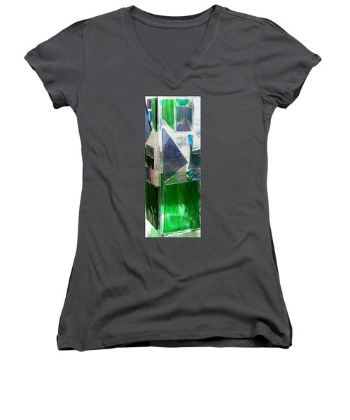 Women's V-Neck T-Shirt (Junior Cut) featuring the glass art Green Vase by Jamie Frier