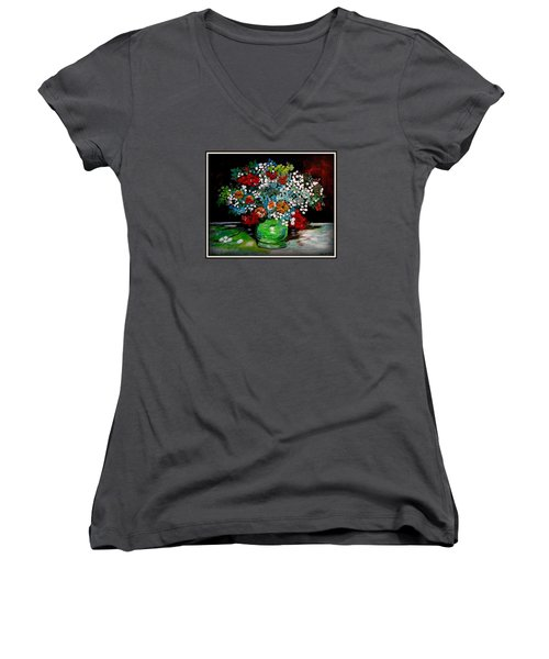 Green Vase With Flowers Women's V-Neck (Athletic Fit)