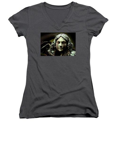 Green Woman A Portrait Women's V-Neck T-Shirt