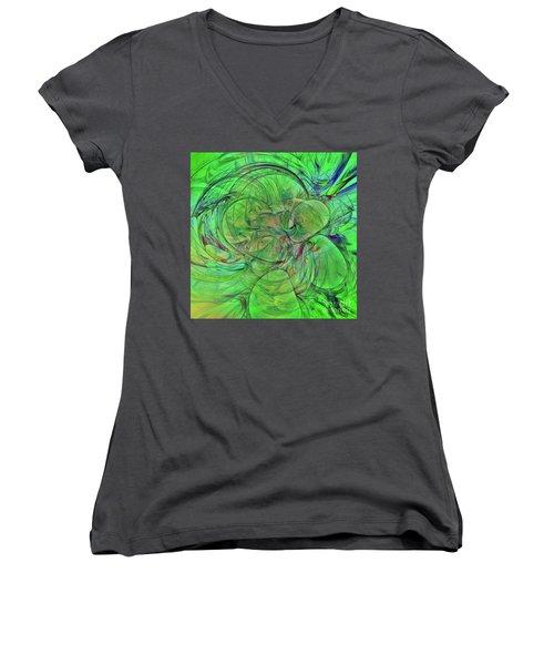 Women's V-Neck T-Shirt (Junior Cut) featuring the digital art Green World Abstract by Deborah Benoit