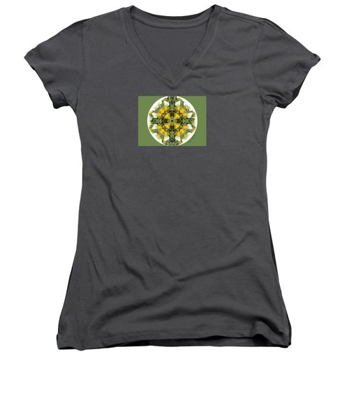 Green Yellow Kaleidoscope Women's V-Neck (Athletic Fit)