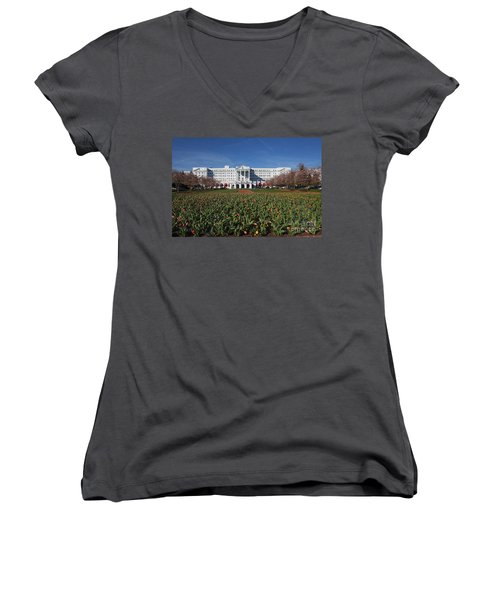 Women's V-Neck T-Shirt (Junior Cut) featuring the photograph Greenbrier Resort by Laurinda Bowling