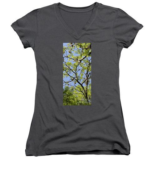 Greenery Center Panel Women's V-Neck T-Shirt (Junior Cut) by Renie Rutten